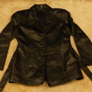 Thigh length leather coat